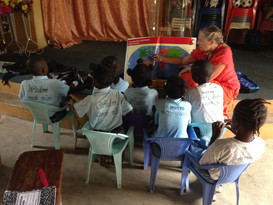 Jean teaches class using new materials brought by Signpost MissionWorks