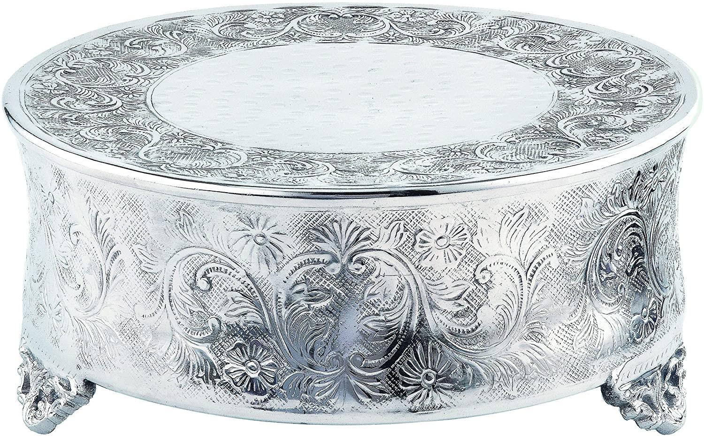 "Silver Ornate Round Cake Stand - 14"""
