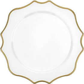 Acrylic White/Gold Scalloped Charger
