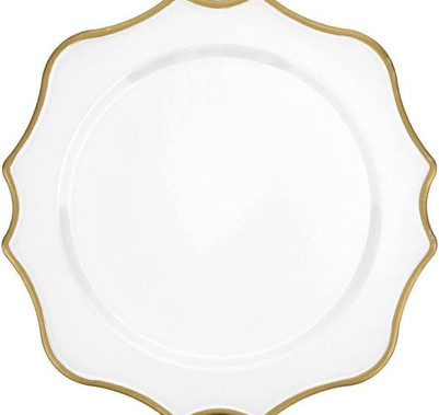 White/Gold Scalloped Charger