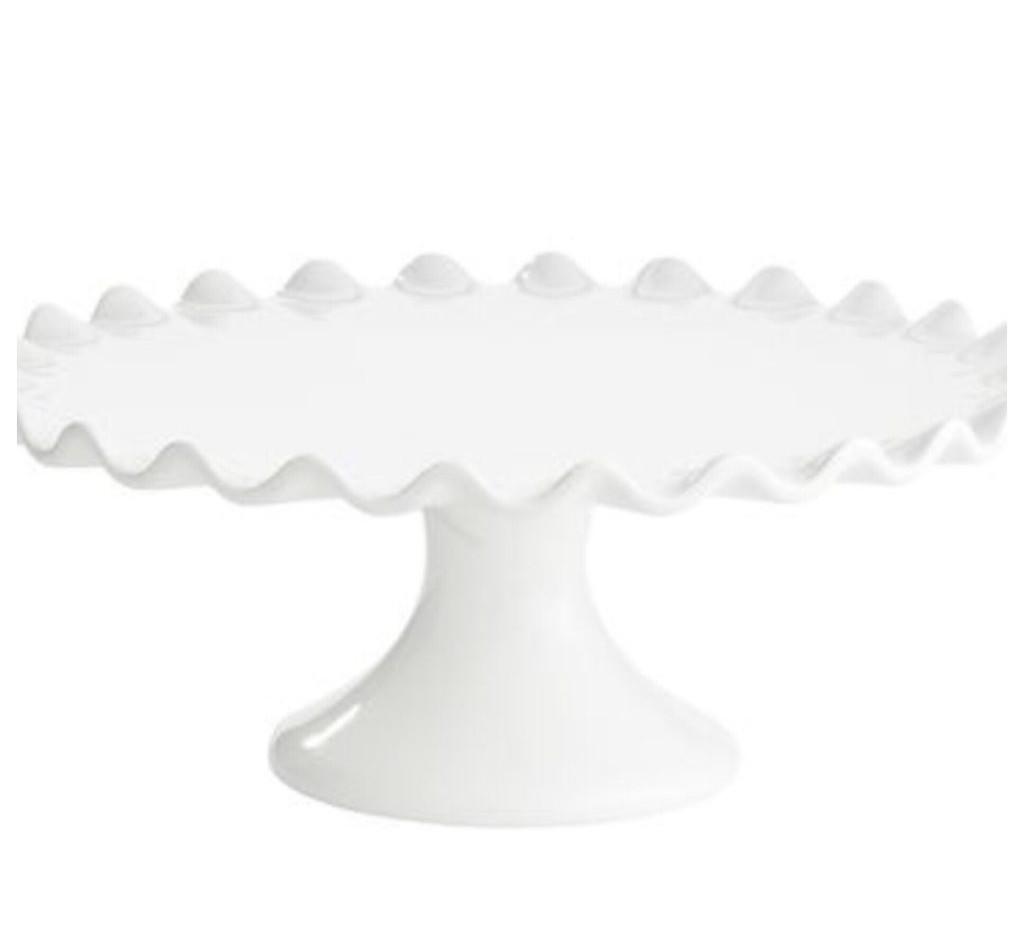 White Scallop Edge Cake Stand