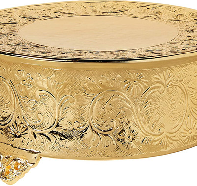 "Gold Ornate Round Cake Stand - 14"""