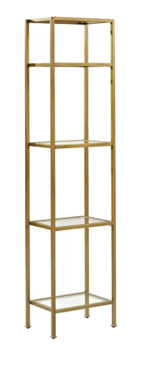 Gold Etagere Glass Skinny Shelf