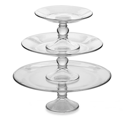"""Clear Glass Cake Stands -  7.5"""", 10.5"""", 13"""""""