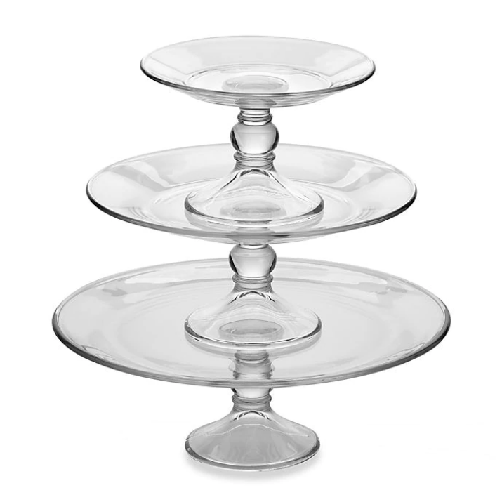 "Clear Glass Cake Stands -  7.5"", 10.5"", 13"""