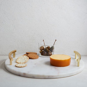 Marble & Brass Round Cheese Board