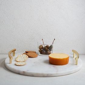 Marble & Brass Round Cheese Board