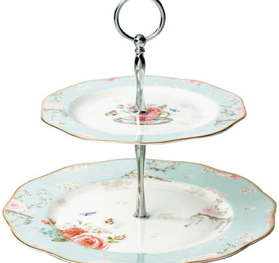 Blue Rose 2 Tier Cake Stand