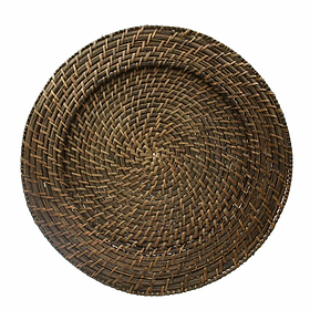 Walnut Rattan Charger Plate