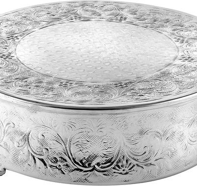 "Silver Ornate Round Cake Stand - 16"""