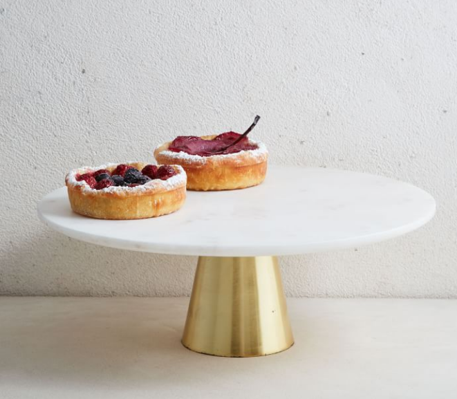 """12"""" Marble & Brass Cake Stand"""