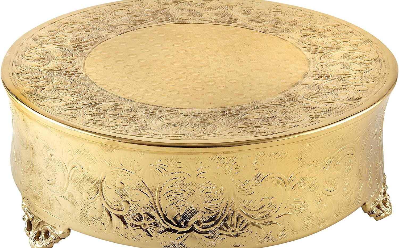 "Gold Ornate Round Cake Stand - 16"""