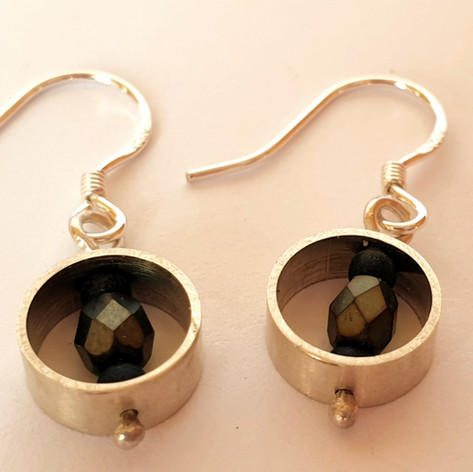 silver earrings with beads