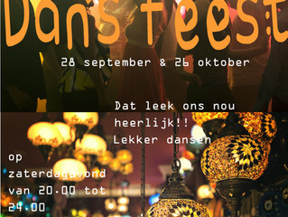 Dansfeest 28 september en 26 oktober