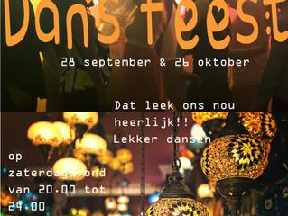 Dansfeest 28 september en 26 oktober