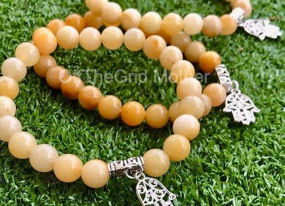 Yellow Aventurine Bracelet with Hamsa Hand Charm