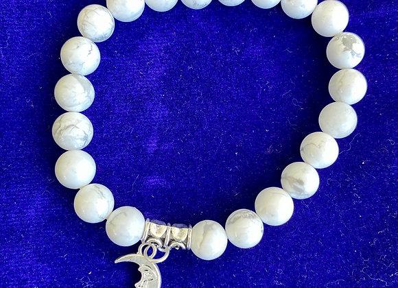 Howlite Gem Stone Bracelet with Cresent Moon Charm