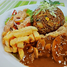 Fried Rice with Fried Battered Fish Fillet