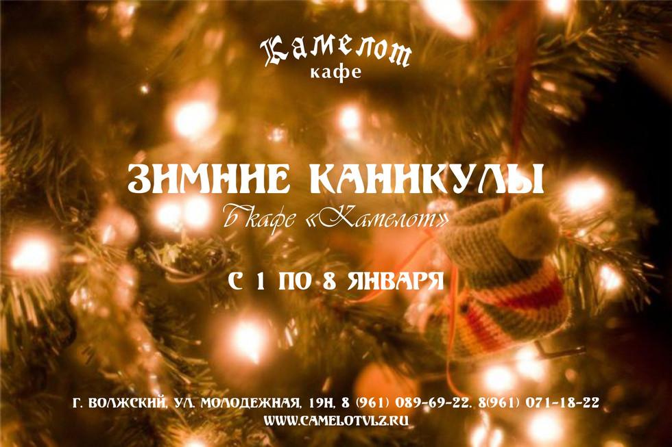 """НОВОГОДНИЕ КАНИКУЛЫ В КАФЕ """"КАМЕЛОТ"""""""