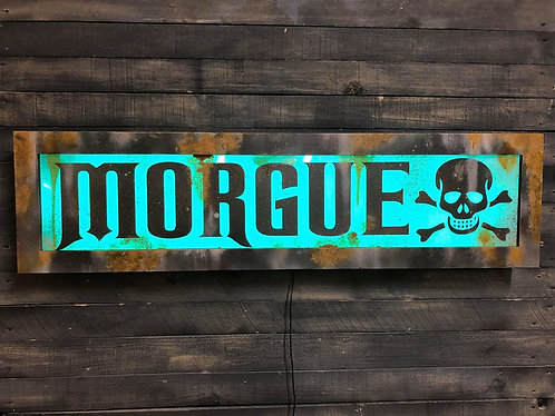 MORGUE lighted sign