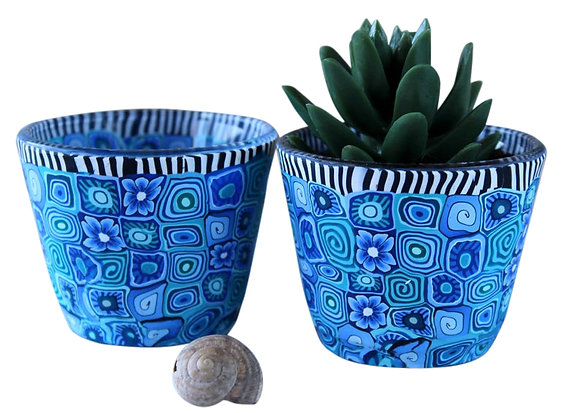 Colorful Set of Small Plant Pots
