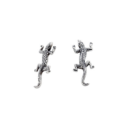 Lizard-Shaped Silver Earrings