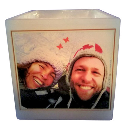 Square Candle Holder with a Personalized Design and Message