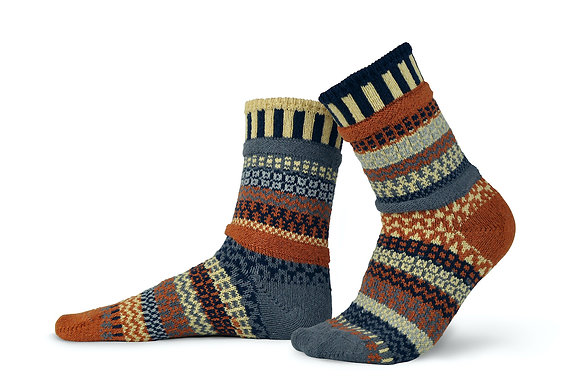 Colorful socks made from recycled materials