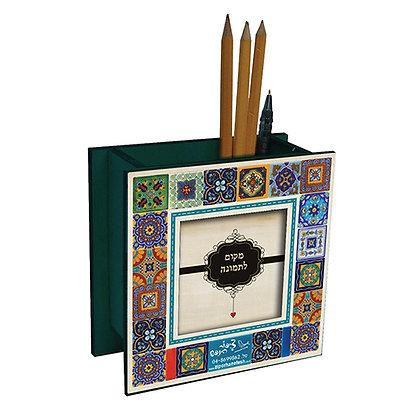 סטנד עפרונות עם מסגרת לתמונה