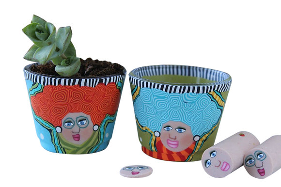 Set of Small Plant Pots with a Funny Face Design