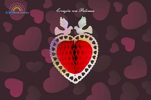 Corazón con Palomas