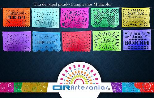 Paquete con 10 tiras de papel picado Cumpleaños Multicolor