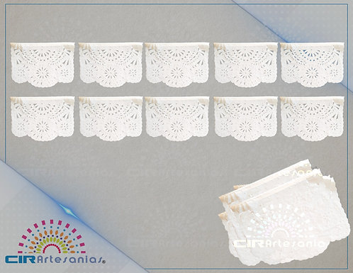 Paquete con 10 Tiras de plástico picado blanco tamaño un cuarto