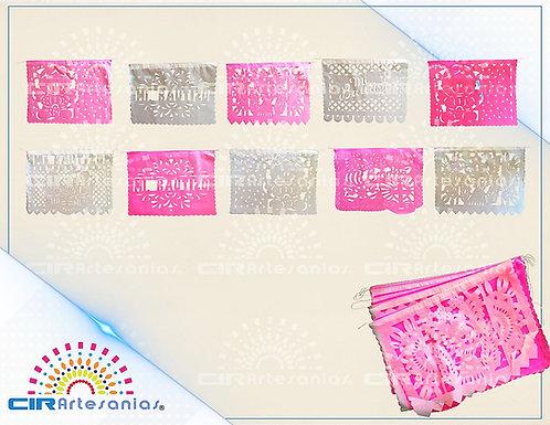 Paquete con 10 tiras de papel picado, bautizo rosa