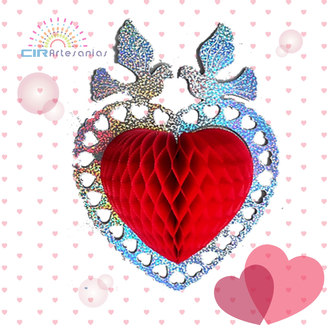 Papel picado, corazon Brillante con palomas