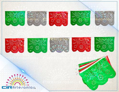Paquete con 10 tiras de papel picado Abstracto tricolor