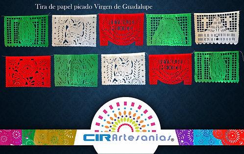 Paquete con 10 Tiras de papel picado Virgen Guadalupe