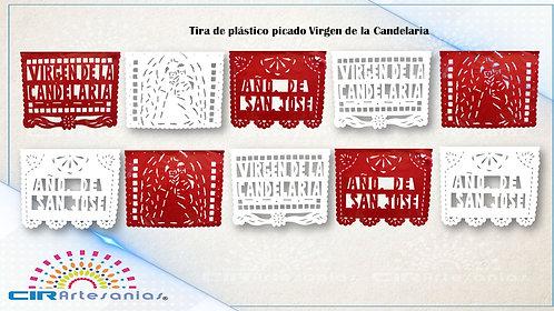 Paquete con 10 Tiras de plástico picado Virgen de la candelaria