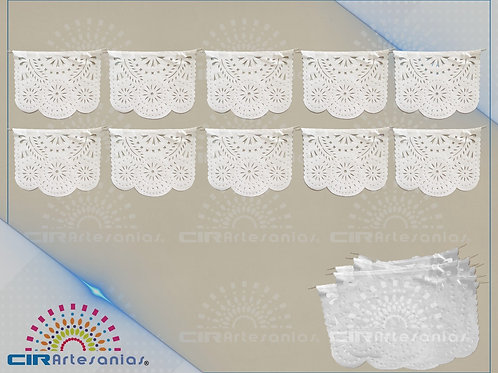 Paquete con 10 tiras de plástico picado Abstracto Blanco