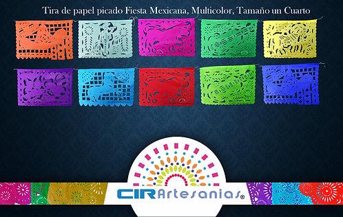 Paquete con 10 tiras de papel picado, Fiesta mexicana Tamaño 1/4