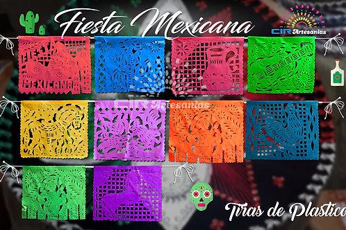 Paquete con 10 tiras de PLASTICO Picado, Fiesta Mexicana.