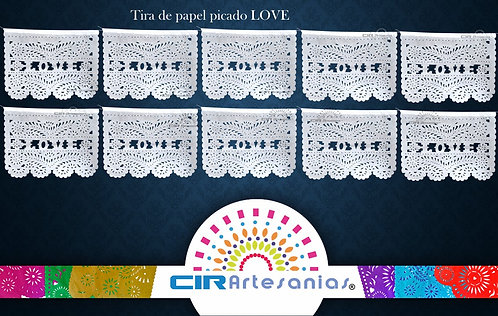Paquete con 10 Tiras de papel picado LOVE