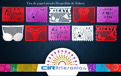 Paquete con 10 tiras de papel picado Despedida de Soltera