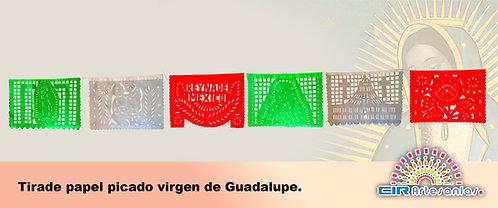 Tira de papel picado Virgen Guadalupe. Paquete con 10 tiras