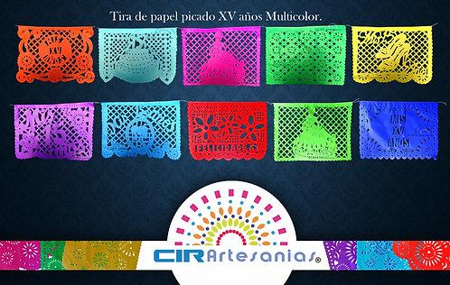 Paquete con 10 tiras de papel picado  XV años Multicolor