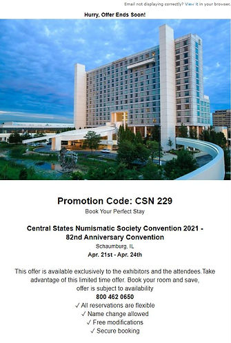 False email prompting users to register for a hotel room for the 82nd Anniversary Central States convention.