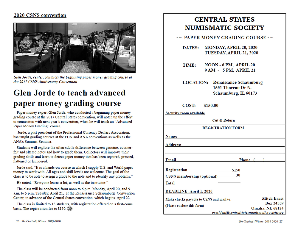 Scan of the article in the Central States Centinel about Glen Jorde teaching an advanced paper money grading seminar along with an application form.