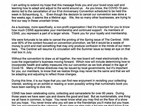 Message from CSNS President Mitch Ernst