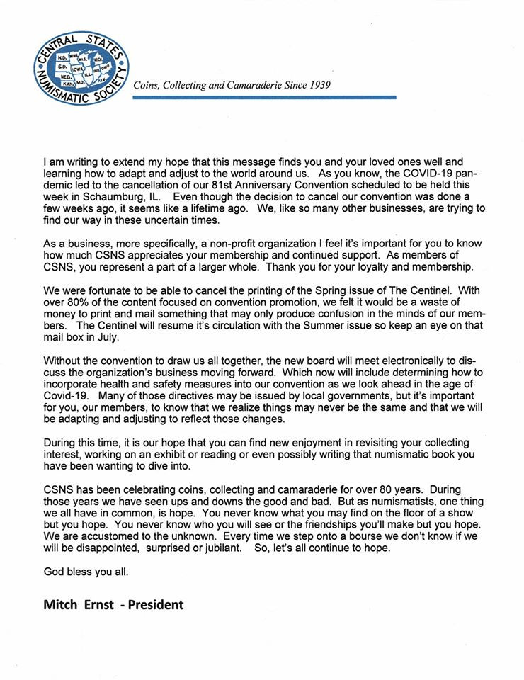 Message from Central States President Mitch Ernst about cancelling the 2020 Central States Numismatic Society Convention.