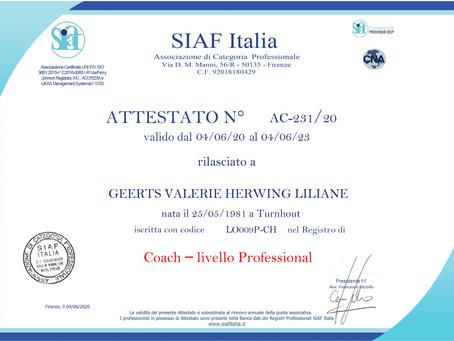 Il mio attestato Siaf Italia, Associazione di Categoria Professionale